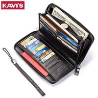 KAVIS 2018 Fashion Genuine Leather Men Wallet Long Sling Magic Vallet Money Bag Clutch Handy Coin Purse Black Card Holder Size