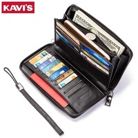 KAVIS 2019 Fashion Genuine Leather Men Wallet Long Sling Magic Vallet Money Bag Clutch Handy Coin Purse Black Card Holder Size