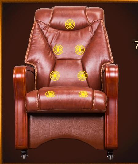 Four-legged boss chair real leather can massage chair real wood swivel chair fixed pulley old man office chair..03 the boss chair is real leather the home can be massaged leather big class chair seat computer chair