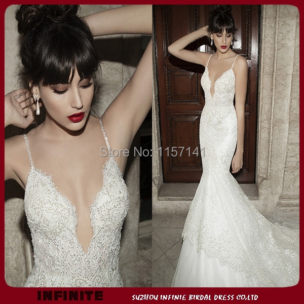 Gorgeous Spaghetti Strap Y V Neck Backless Beaded Lace Bridal Gowns Chapel Train Tulle Berta