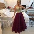 Gorgeous Sexy See Through Backlass Burgundry Organza Long Prom Dress Dress Vestido De Festa Cheap Evening Dresses 2016