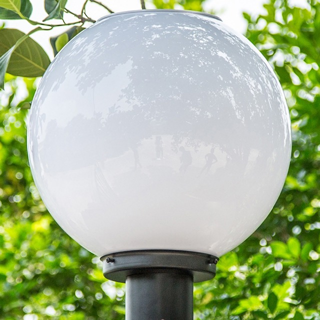 White Spherical Pillar Lamps Decoration Style Outdoor Lighting Solar Post Acrylic Stainless Steel