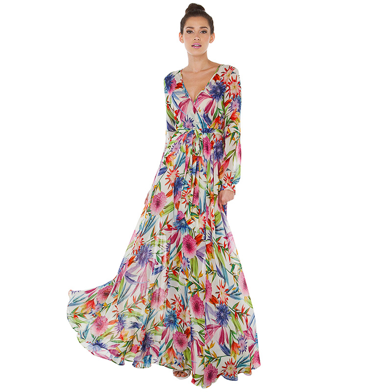 Buy Cheap 2017 spring dress Tropical flower print sexy V-neck belt slim lantern sleeve pleated dress expansion bottom beach dress