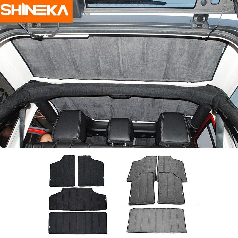SHINEKA Car Interior Windows Roof Hardtop Heat Insulated Cotton Kit For Jeep Wrangler 2 Doors 4 Doors 2012 2016