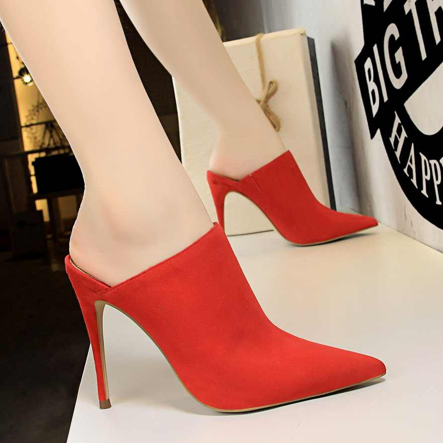 ladies basic mules high heels pumps women shoes Stylish sexy pointed slippers luxury designers block bridal zapatos de mujer