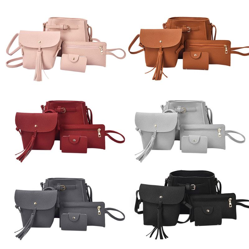 High Quality 4x Women PU Leather Handbag Shoulder Bag Tote Purse Messenger Satchel Crossbody in Shoulder Bags from Luggage Bags
