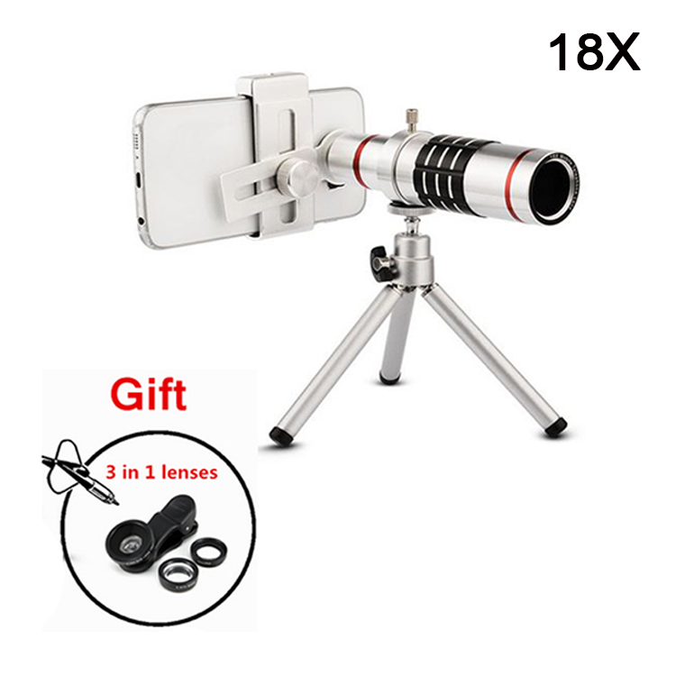 bilder für 2017 Universal 18x Zoom Optische Teleskop Linsen Teleobjektiv Mit Stativ für iPhone 5 s 6 6 s 7 8 Plus Handy Lentes Kit