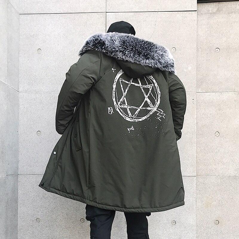 Veste d'hiver hommes épais chaud longues vestes Parkas hombre hommes fourrure à capuche veste longue automne hiver Trench manteau mâle - 4