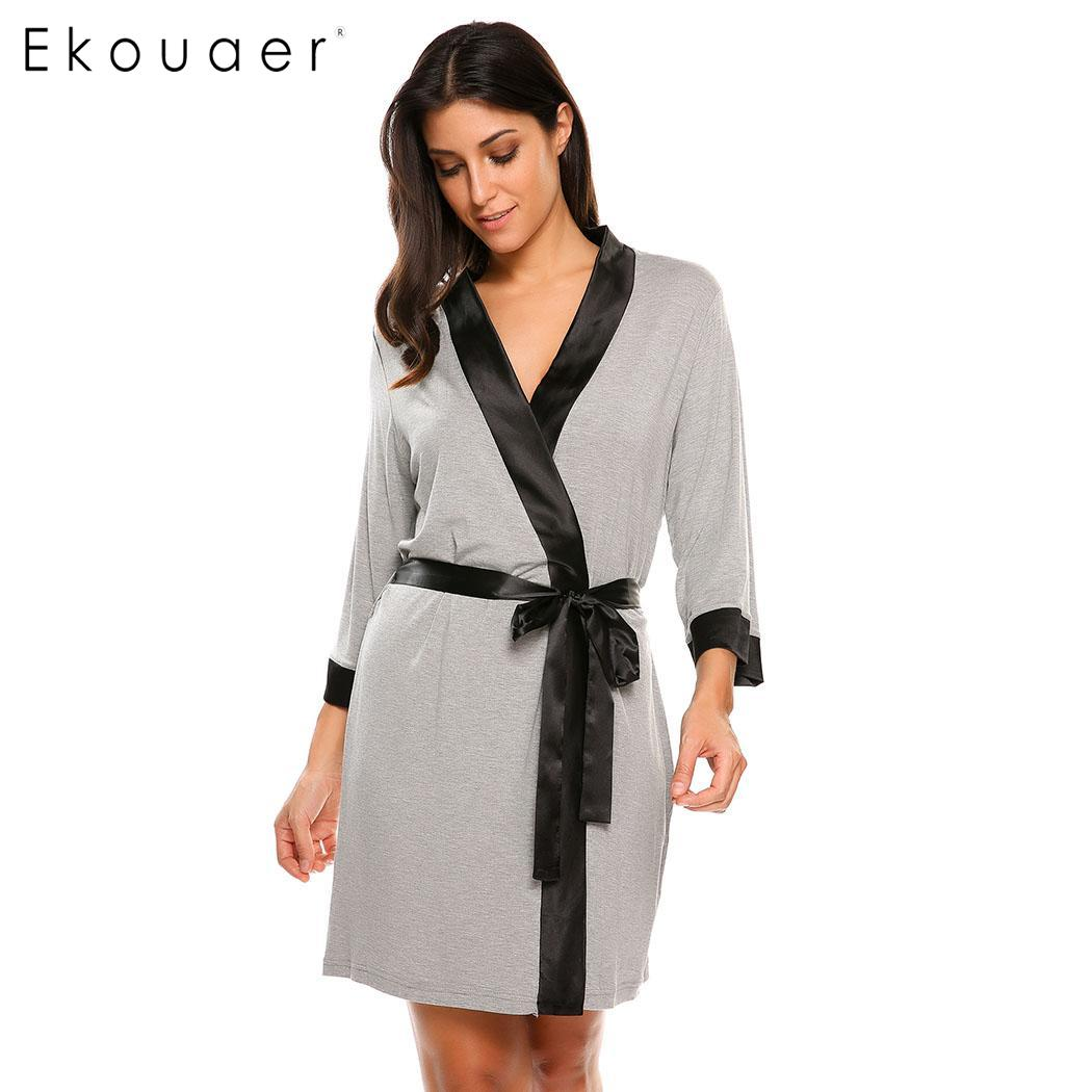 Ekouaer Women Long Sleeve V-neck Nightgown Patchwork Rib Cuff Sweatshirts Nighties Sleepwear Casual Female Sleeping Dress Lovely Luster Women's Sleepwears