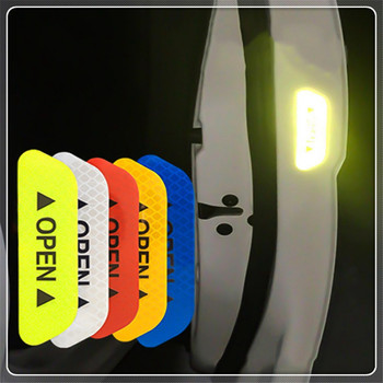 4Pcs Car Door OPEN Reflective Tape Warning Notice Sticker for Peugeot Jeep Harley-Davidson Buick Bentley Scania 6008 301 408 image