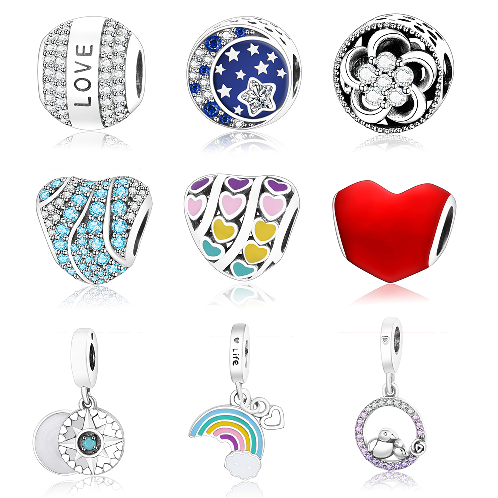 2018 Spring Collection DIY Fits Original Pandora Charms Bracelet Jewelry 925 Sterling Silver Star/Love/Heart Charm Bead With CZ