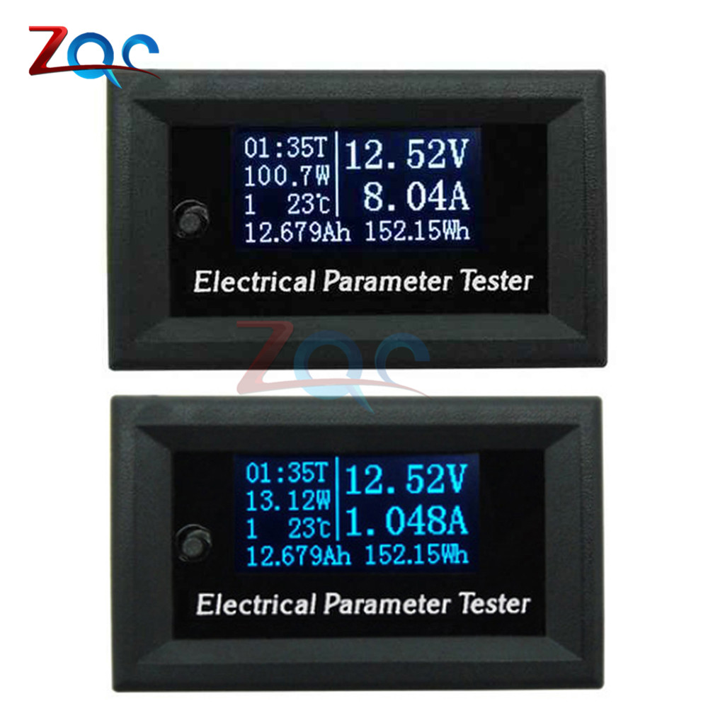33V 10A 3A 7in1 OLED Multifunction Tester Voltage Current Time Temperature Capacity Power Voltmeter Ammeter Electrical Meter