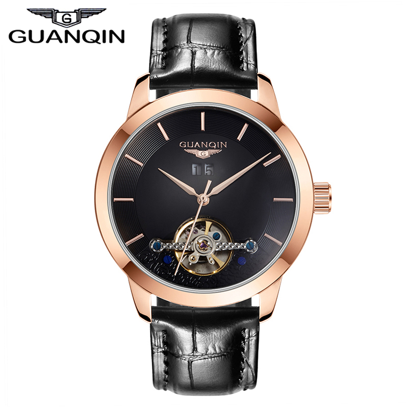 Watches Men 2016 GUANQIN new Arrival Fashion Luxury Brand Leather Tourbillon Wristwatches automatic Mechanical Watches 2016 new men fashion