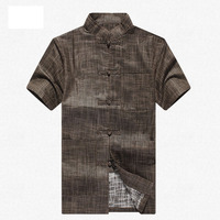 Brand New Arrival Chinese Traditional Men's Linen Kung Fu Shirts Tops M L XL XXL 3XL MS2015038