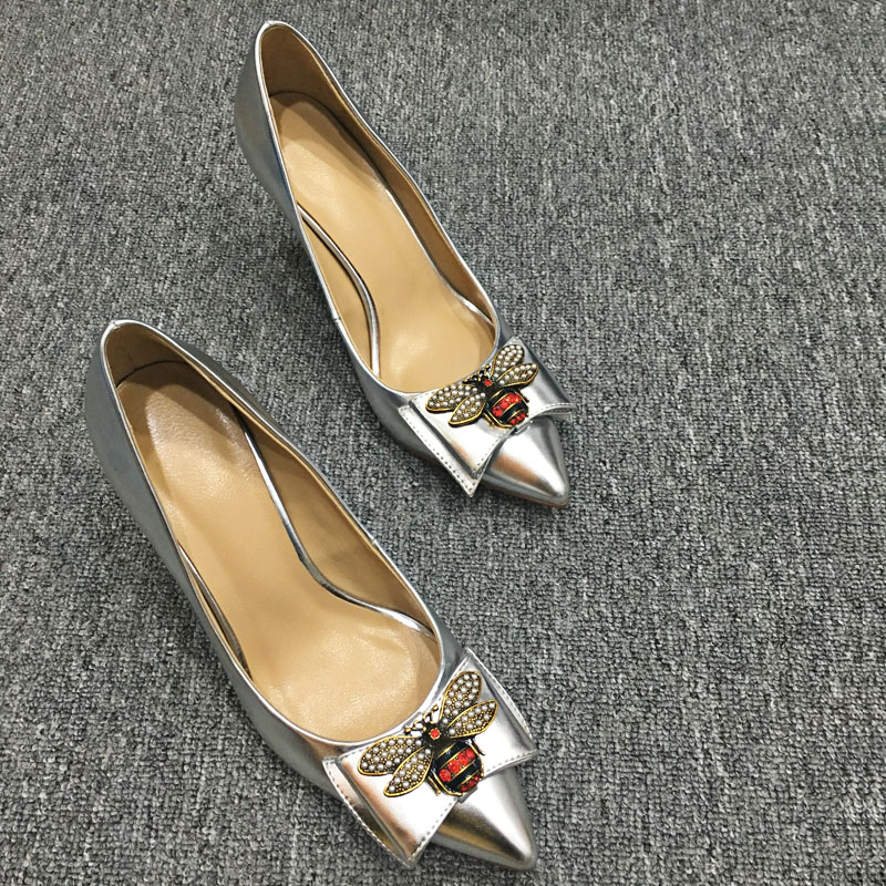 Beautiful Bee Thin High Heels Women Pumps 8.5CM Low Heel