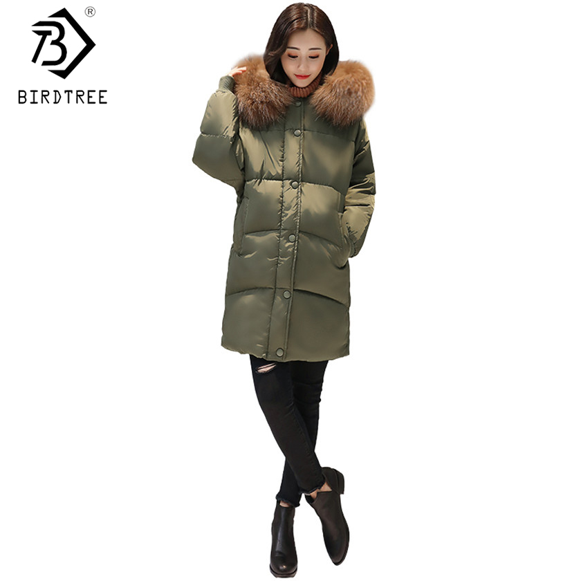 New 2017 Oversized Winter Cotton Down Women Long Zipper Coat Parka Thick Female Warm Cocoon Fur Collar Lady Cloak Hoody C79509A женские пуховики куртки winter thick down coat xq746 new warm parka