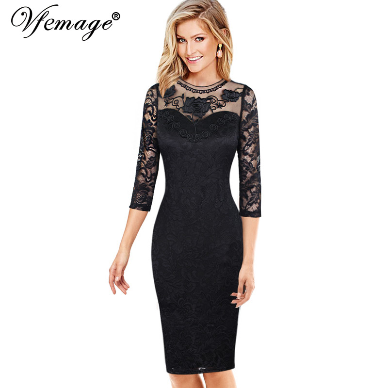 Vfemage Womens Elegant Embroidered Floral Sexy See Through Mesh Lace Party Evening Mother of Bride Bodycon Dress 4650