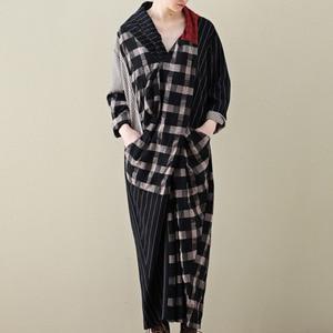 Image 1 - LANMREM 2020 Spring New Casual Fashion Literary Women Loose Plus Chest Cross Long Plaid Cotton And Linen Dress TC399