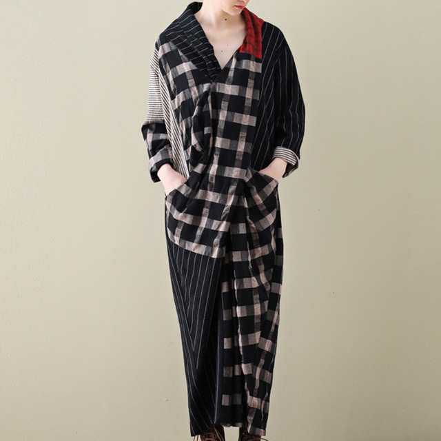 LANMREM 2020 Spring New Casual Fashion Literary Women Loose Plus Chest Cross Long Plaid Cotton And Linen Dress TC399