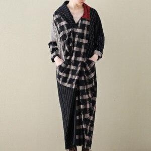 Image 1 - LANMREM 2020 primavera nueva moda Casual mujer literaria suelta más pecho largas y cruzadas a cuadros vestido de algodón y lino TC399
