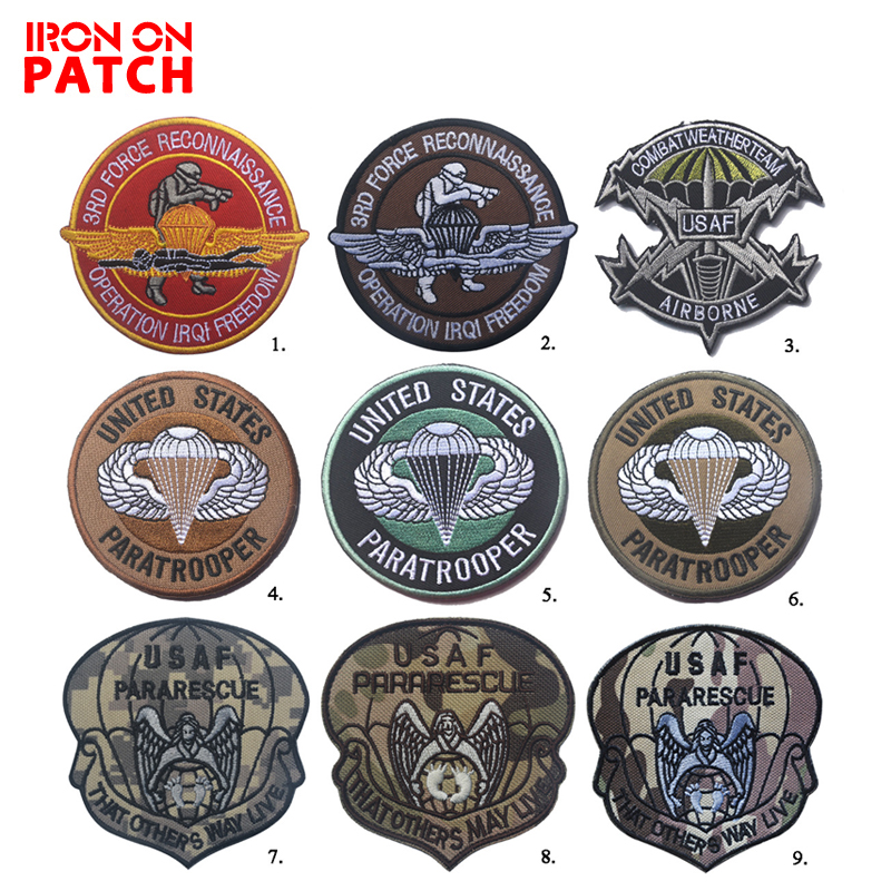 USAF Paratrooper United States Air Force Tactical Morale Patch Pararescue Airborne Armband Patch For Military Clothes HOOK/LOOP