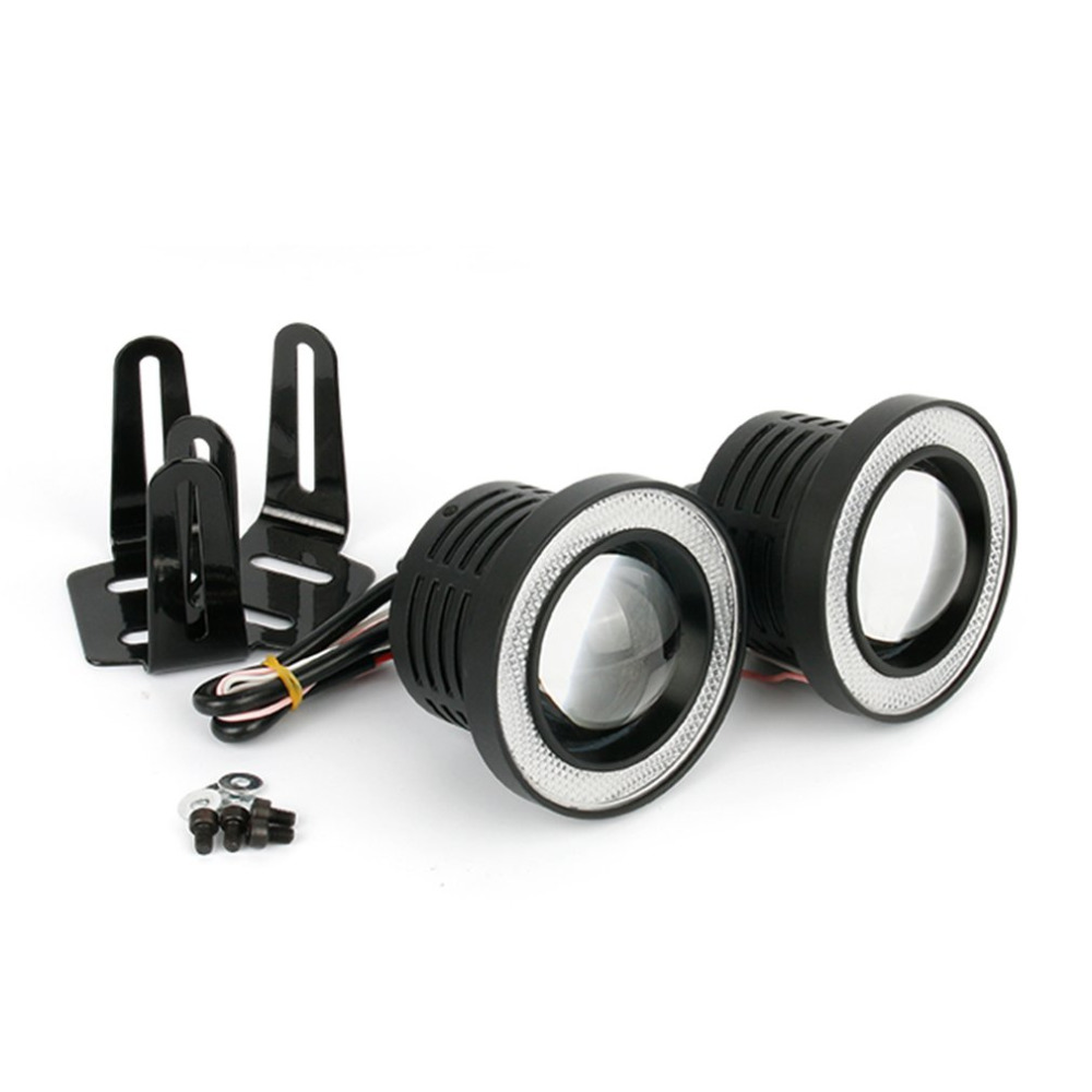 Un par/Set 64mm/76mm/89mm 30 W LED COB Ángel ojos diurna luz 2000LM vehículo Universal faros de niebla para BMW para Benz
