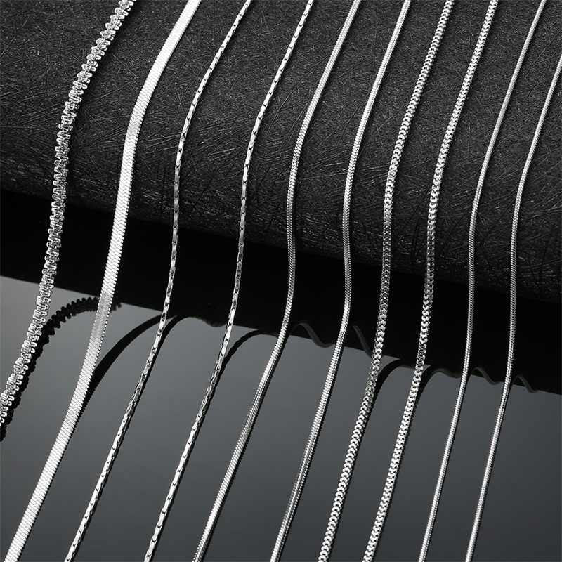 AZIZ BEKKAOUI Men Women Chain Necklace Snake Blade Chain Figaro Chain Link Round Basic Chain Stainless Steel Choker Jewelry