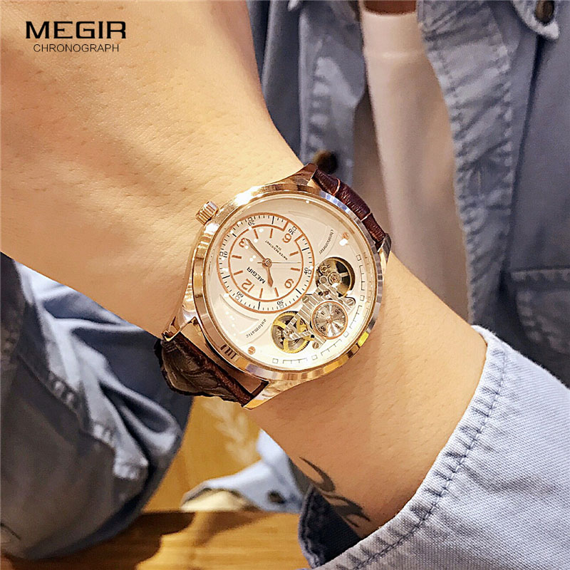 MEGIR Original hommes montre Top marque montres à Quartz de luxe Relogio Masculino cuir militaire montre horloge hommes Erkek Kol Saati 2017
