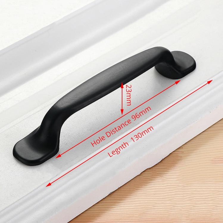 NAIERDI черные ручки шкафа американский стиль твердый алюминиевый сплав кухонный шкаф ручки для выдвижных ящиков оборудование для обработки мебели - Цвет: Handle-6658C-96