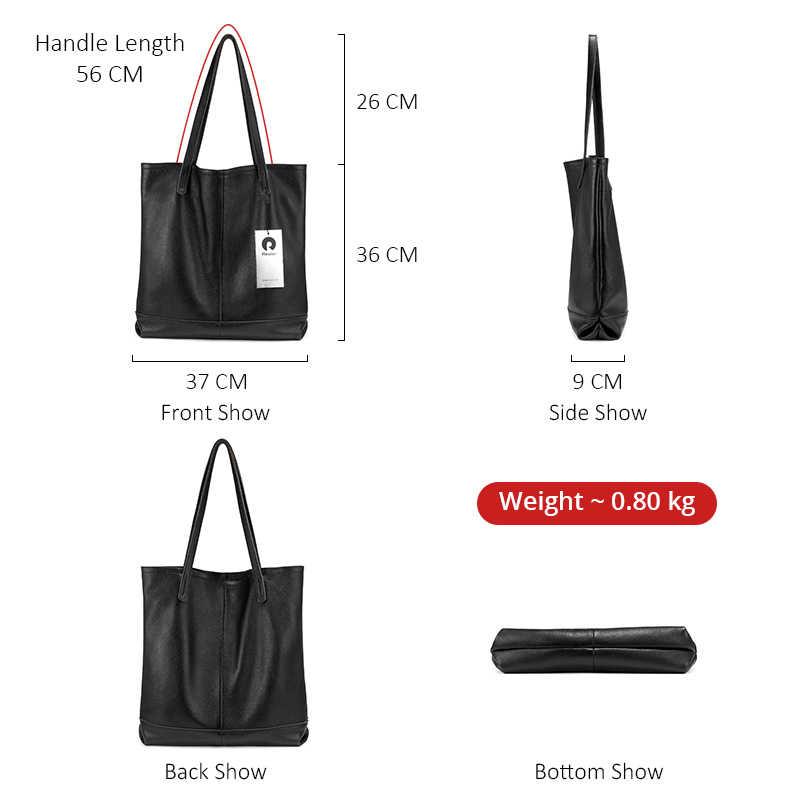 REALER Minimalista saco das mulheres de couro genuíno bolsas de luxo mulheres sacos designer de grande Tote Bolsa feminina bolsa de ombro preta para senhoras