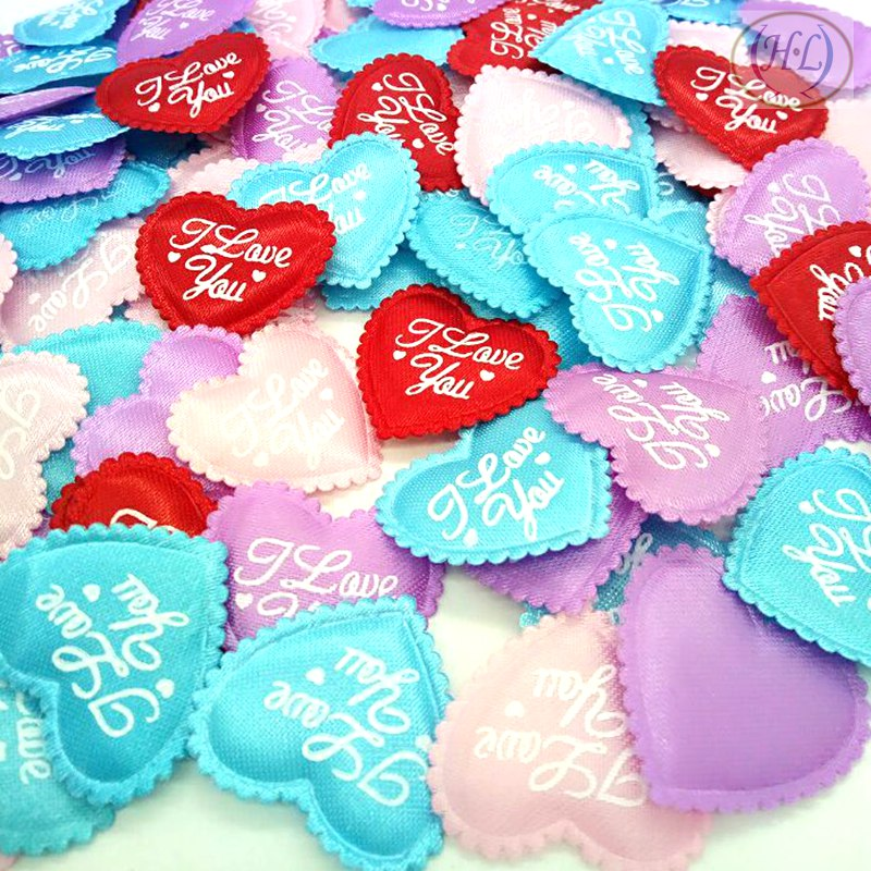 HL 100pcs Mix colors Padded Felt Love Heart Appliques Wedding Decoration DIY Sewing Crafts 35MM A316