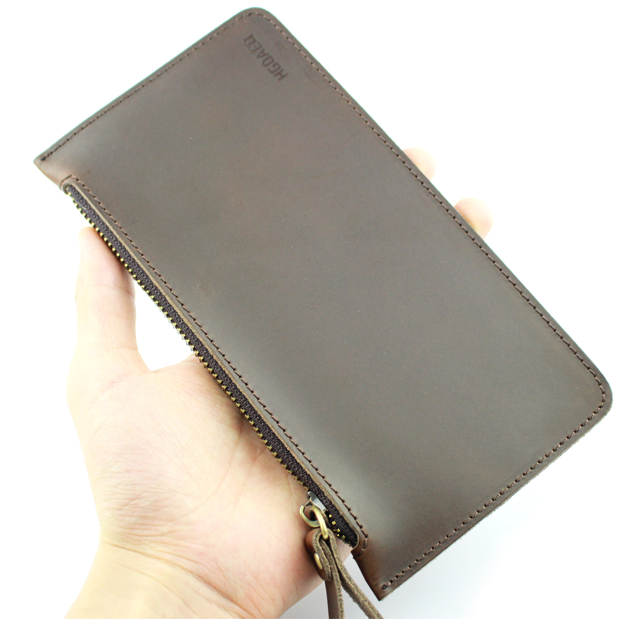 HGOAED Unisex Slim Wallet Leather Genuine Handmade Crazy Horse Leather Long Folded Famous Brand Super Thin Purse Slim Wallet