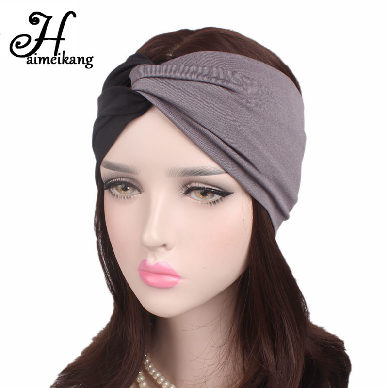 Haimeikang Cotton Wide Turban Headbands for Women Elastic Headwrap Hair Bands Female Workout Headband Bandage Wash   Headwear