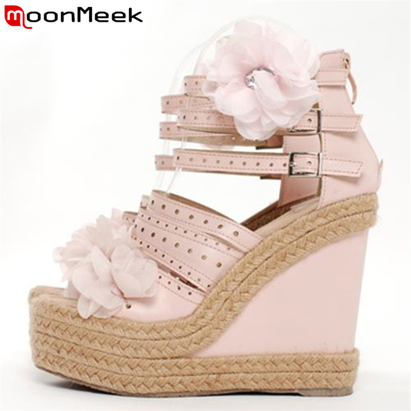 MoonMeek Plus size 2017 new sweet women sandals wedges high heels flower girls shoes woman summer platform buckle pink hot sale