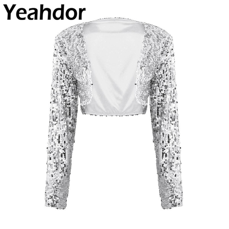 Womens Fashion Shiny Sequin Jacket Long Sleeve Open Front Glitter Cropped Blazer Bolero Shrug Tops Clubwear Party Bridal Wrap Wedding Jackets Wrap Aliexpress