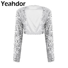 Womens Fashion Shiny Sequin Jacket Long Sleeve Open Front Glitter Cropped Blazer Bolero Shrug Tops Clubwear Party Bridal Wrap