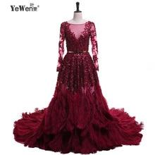 타조 깃털 Burgudy 골드 긴 소매 V 넥 Sequined 신부 드레스 이브닝 드레스 정장 가운 2020 Vestidos De Novia