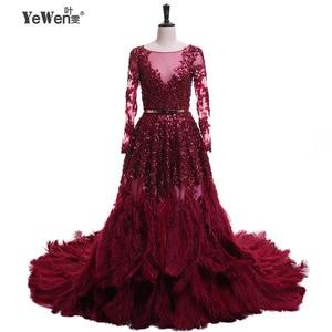 Image 1 - יען נוצות Burgudy זהב ארוך שרוולים V צוואר נצנצים כלה שמלות הערב 2020 Vestidos דה Novia