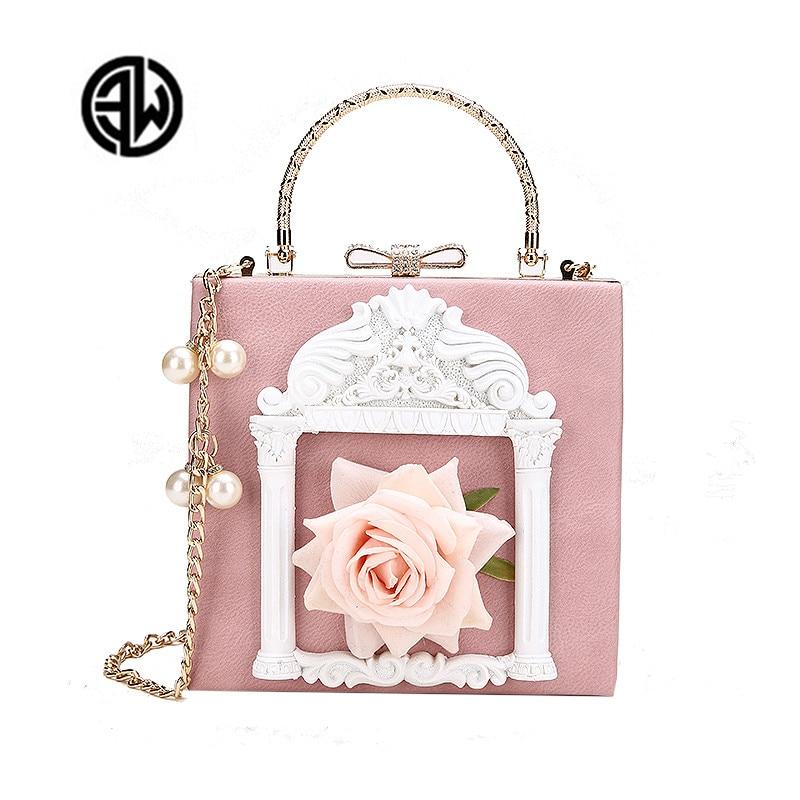 2018 NEW Rose 3D Palace Sculpture Frame Bag Luxury Handbags Women Party Bags Designer Lady Cute Shoulder Messenger Bag Sac Tote 1