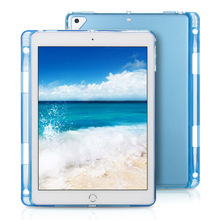Case For iPad Pro 11 inch 2018 Clear Crystal Transparent Soft TPU With Pen Holder Back Cover