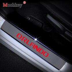 De fibra de carbono de coche de la puerta para Chevrolet ORLANDO puerta placa de umbral guardia de la puerta de coche travesaño Placa de coche- estilo 4 piezas