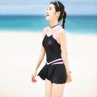 VERZY Girls One Piece Swimsuit Skirted Women Swimwear Student Beach Dress Sweet U Neck Striped Line