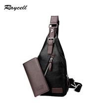 Raycell Theftproof Magnetic Button Open Leather Mens Chest Bags Fashion Travel Crossbody Bag Man Messenger Bag C