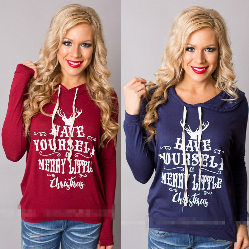 Womens Holiday Shirt,Have Yourself Merry Little Christmas Print Hoodies women sweat  woman sweatshirt long sleeve