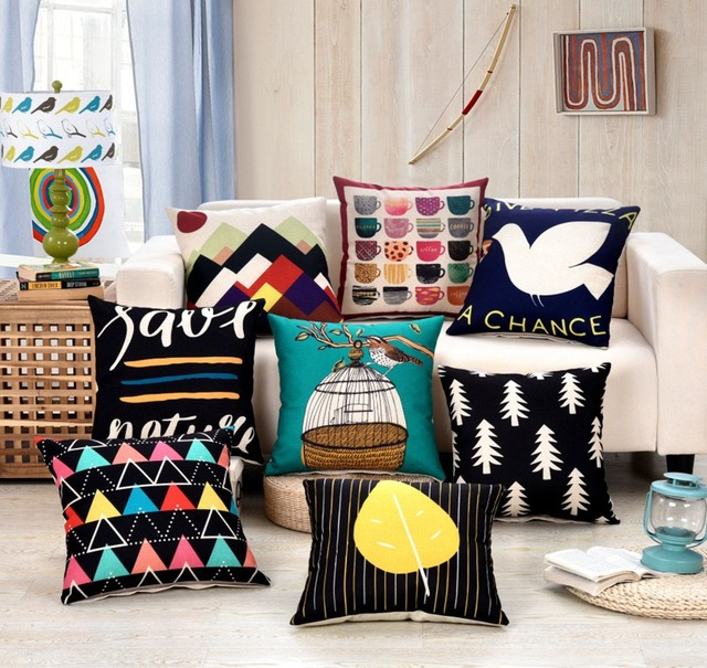 Geometric Yellow White Red Plain Cushion Cover Modern Style Throw Pillow Covers Cotton Linen Chair Sofa