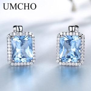 Image 1 - UMCHO Luxury Rectangle Created Sky Blue Topaz Clip Earrings Solid 925 Sterling Silver Gemstone Earrings For Women Fine Jewelry