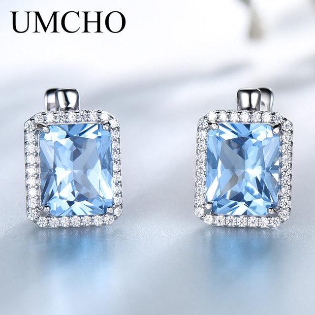 UMCHO Luxury Rectangle Created Sky Blue Topaz Clip Earrings Solid 925 Sterling Silver Gemstone Earrings For Women Fine Jewelry
