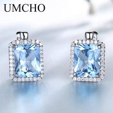UMCHO lüks dikdörtgen oluşturulan Sky Blue Topaz klip küpe katı 925 ayar gümüş taş küpe kadınlar güzel takı için