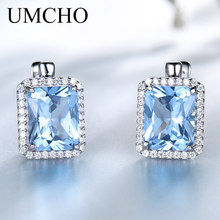 Umcho 高級長方形作成スカイブルートパーズクリップ 925 スターリングシルバー宝石用原石のイヤリング女性のためのファインジュエリー