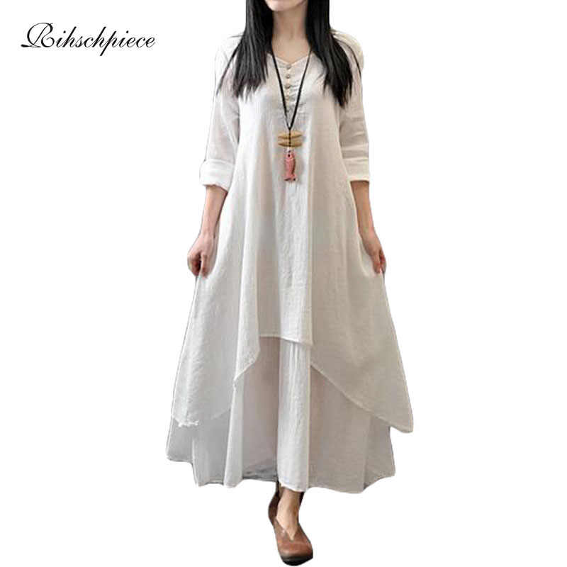 67ccdb4f2f53 Detail Feedback Questions about Rihschpiece Vintage Cotton Linen Maxi Dress  White Casual Long Plus Size Boho Dress Beach Boho Office Dresees RZF105 on  ...